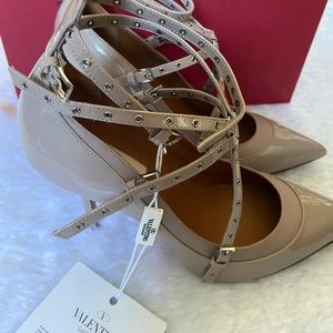 Valentino Grommet Strappy Pointed Toe